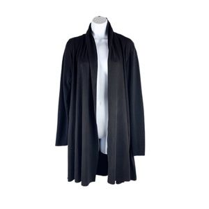 Lane Bryant Black Knit Faux Suede Open Cardigan